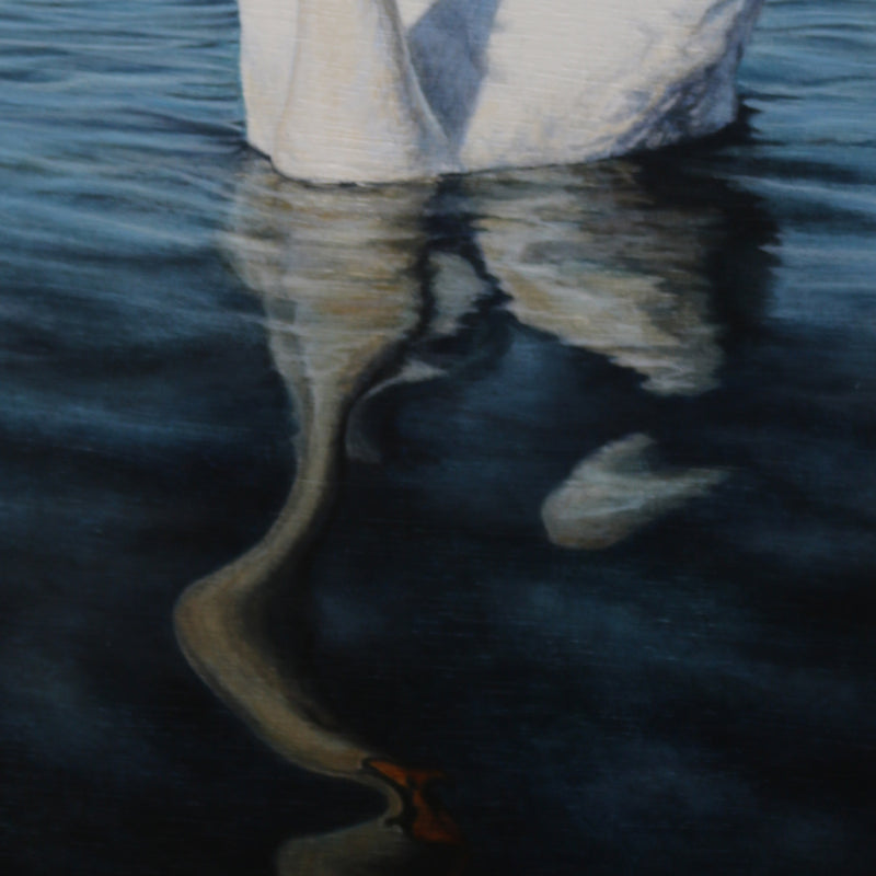 Detail of the reflection of the swan on the deep blue reservoir water near Belfast. The water is rendered with amazing detail which makes the acrylic painting look like a photograph.