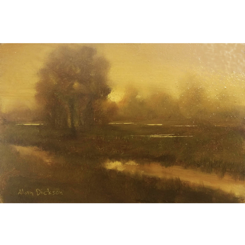 Irish river scene in golden tones by Alan Dickson, oil painting