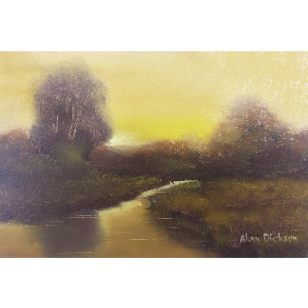 Irish Oil painting by Alan Dickson, golden tones, trees by the side of a river