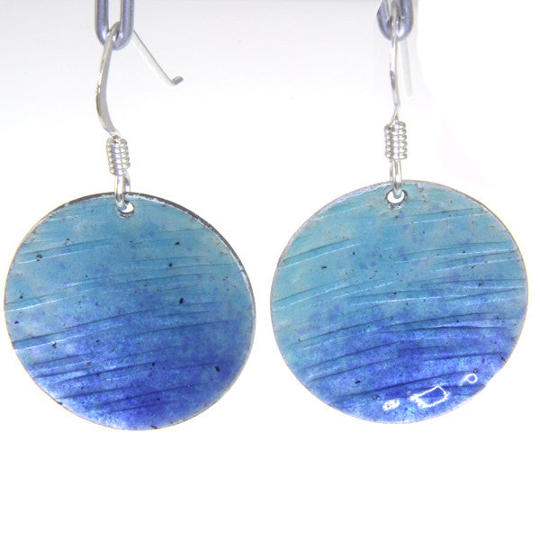 Enamelled Earrings (Round) - blue, orange or green