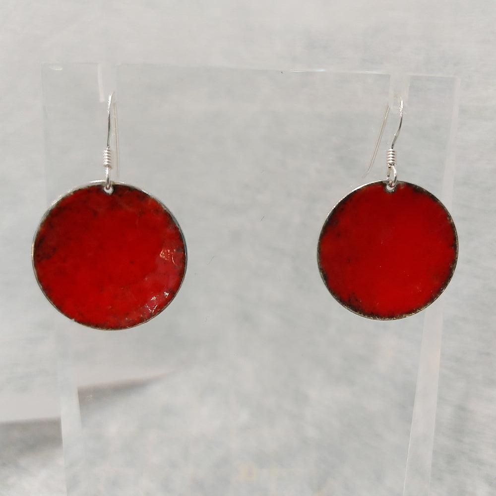 Sterling Silver Red Enamelled Round Earrings