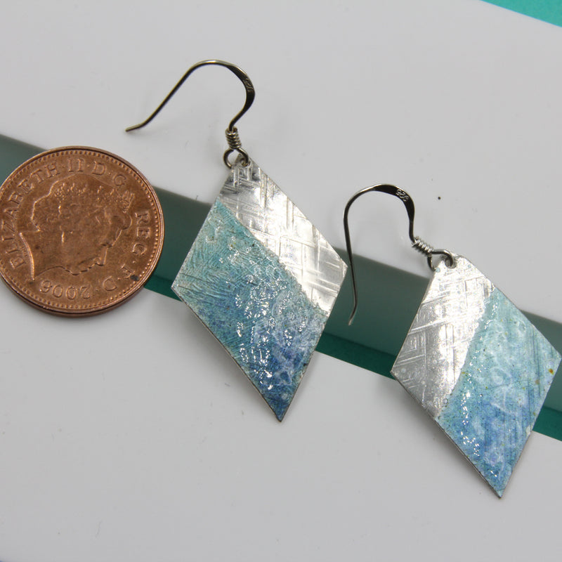 Sterling silver Enamelled Earrings (diamond shape) - blue or green