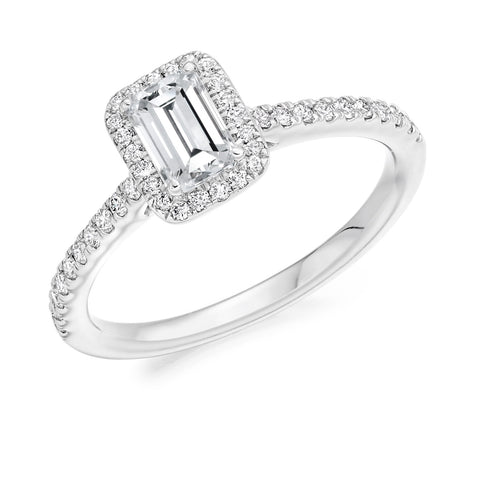 Cluster Engagement Ring 30pt - Emerald Cut (GOLD-PALLADIUM-PLATINUM)