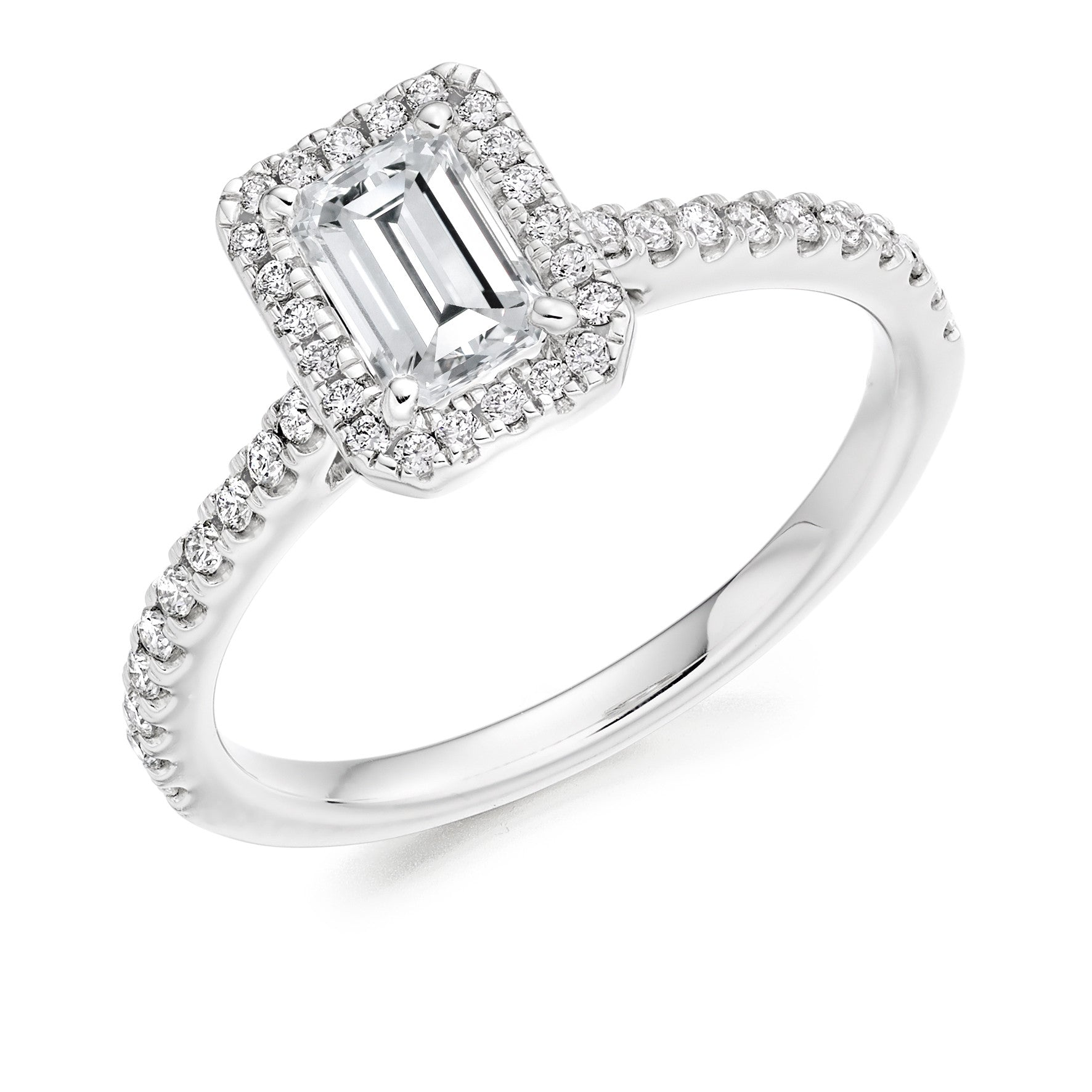 Cluster Engagement Ring 75pt - Emerald Cut (GOLD-PALLADIUM-PLATINUM)