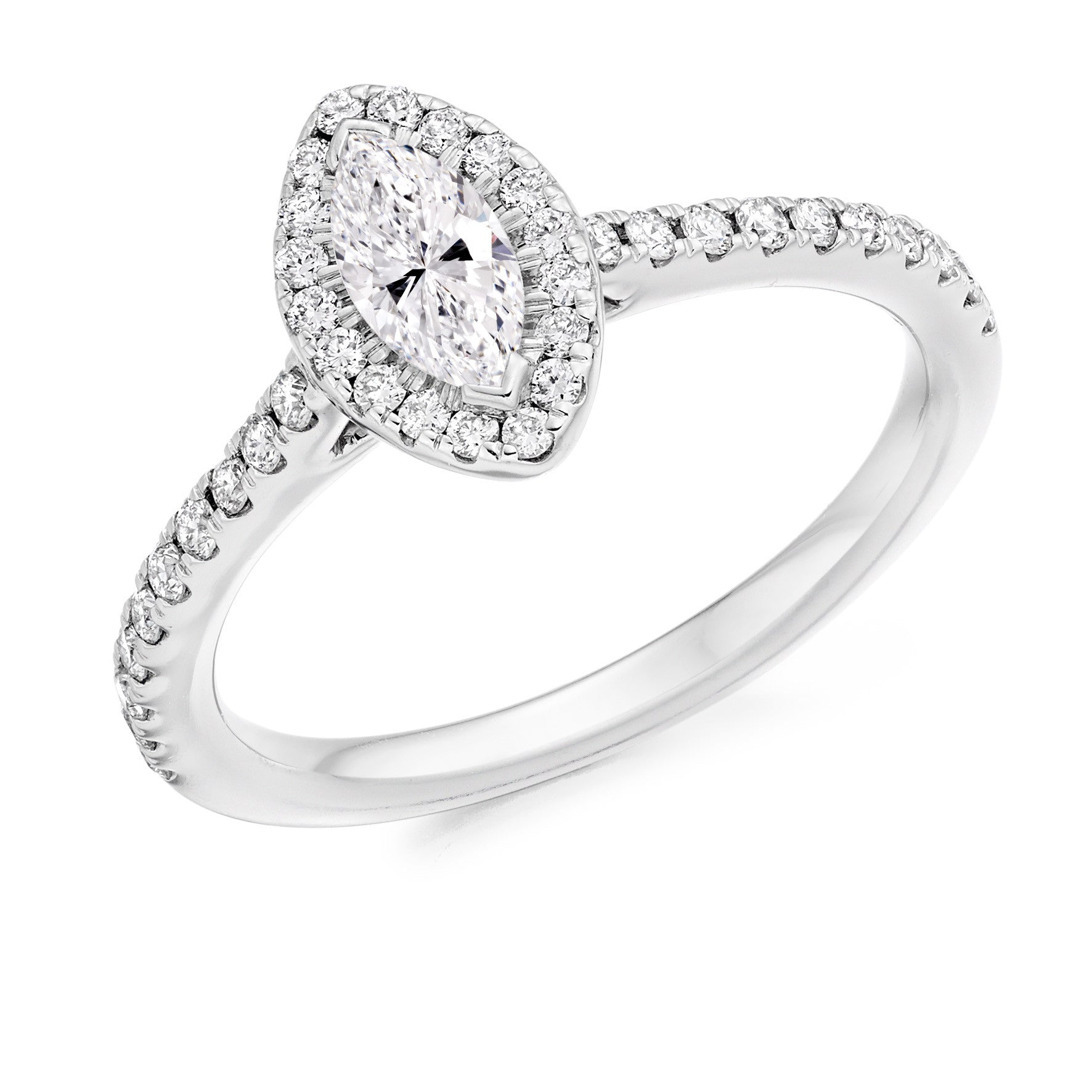 halo white in tw diamond west with cut marquise engagement east pave rings gold ring shank ct