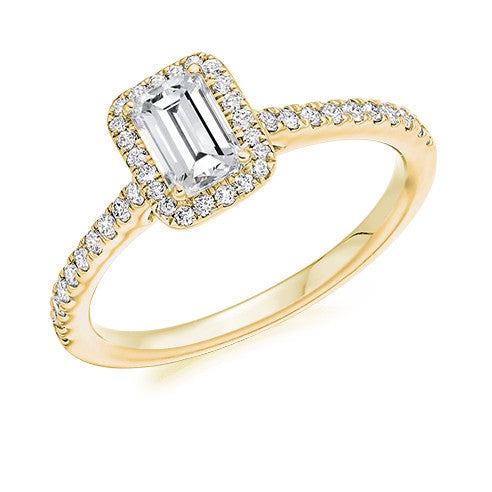 Cluster Engagement Ring 40pt - Emerald Cut (GOLD-PALLADIUM-PLATINUM)