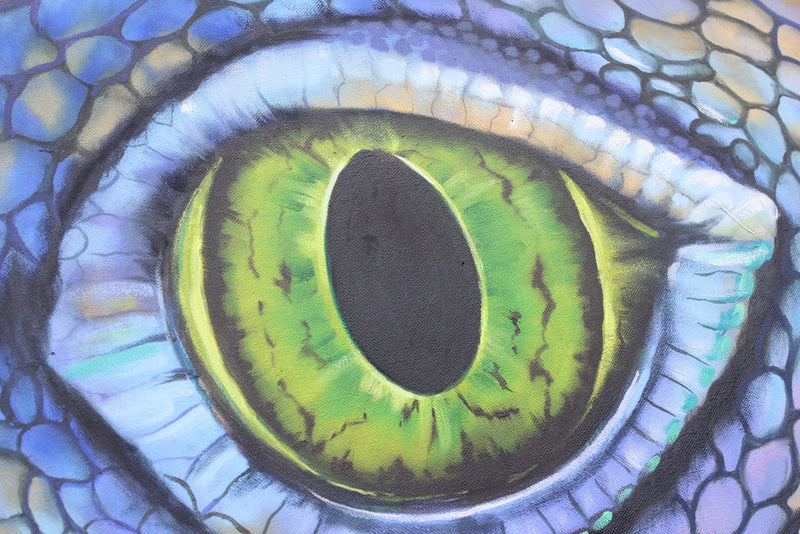 Eye of the Green Iguana - Oil painting by Robert Spotten