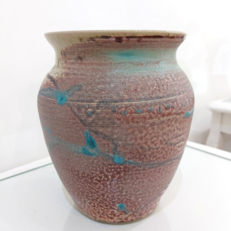 Purple/Pink Cream and Turquoise Ceramic Vase by Alan McCluney