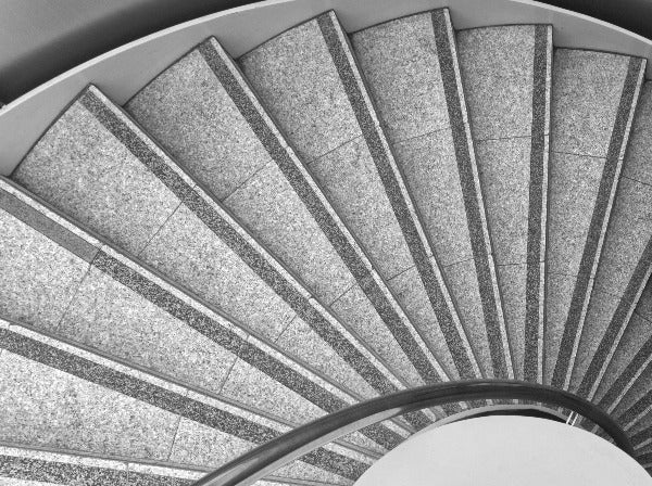 Spiral - Abstract Black and White Photograph of Spiral Staircase, Victoria Square, Belfast, Ireland by Mathieu Decodts, Art Photographer
