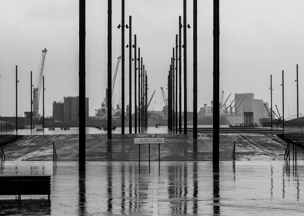 Titanic - Abstract Black and White Photograph taken at Titanic Belfast, Ireland by Mathieu Decodts, Art Photographer