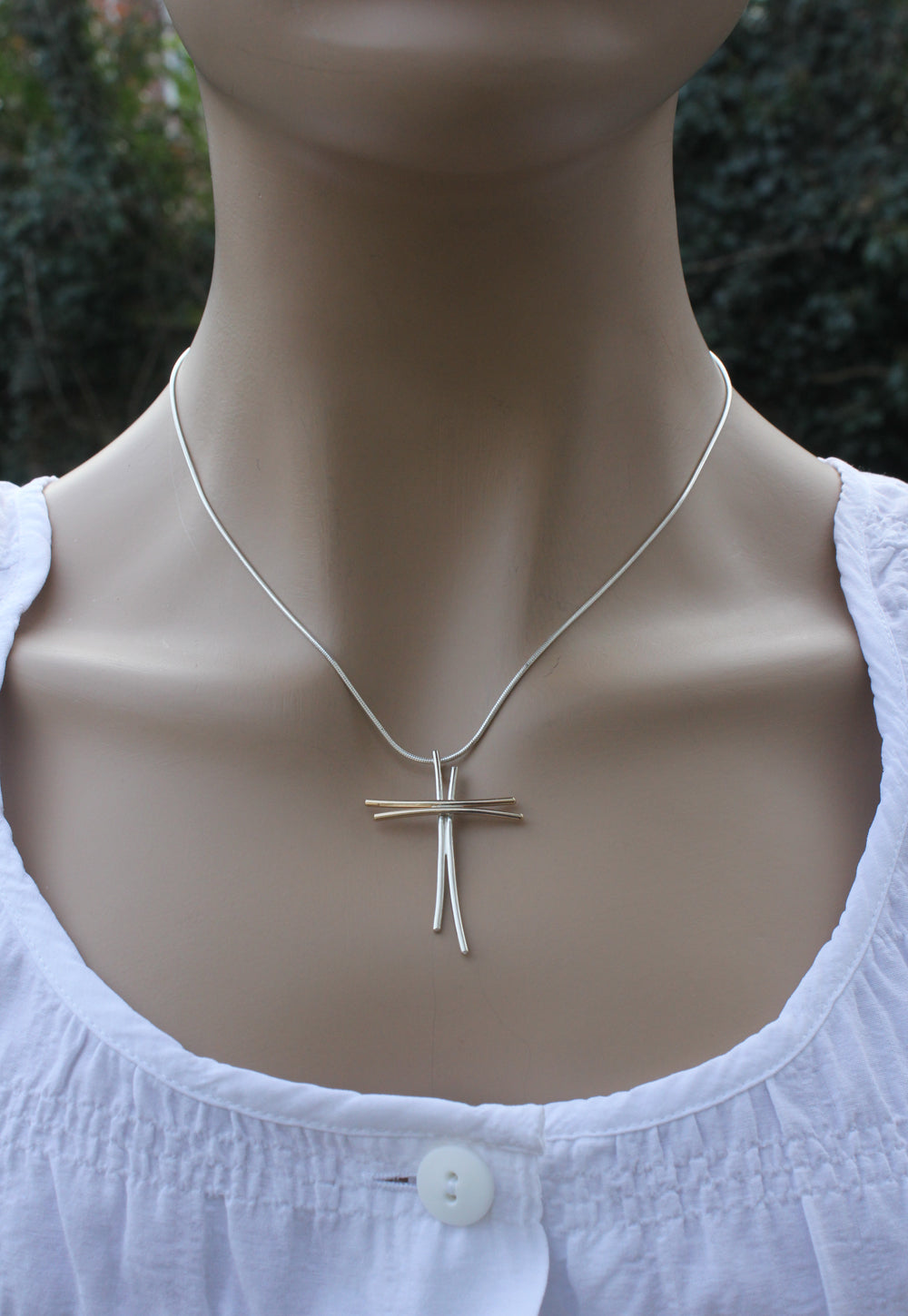 Gold and Sterling Silver Wire Cross