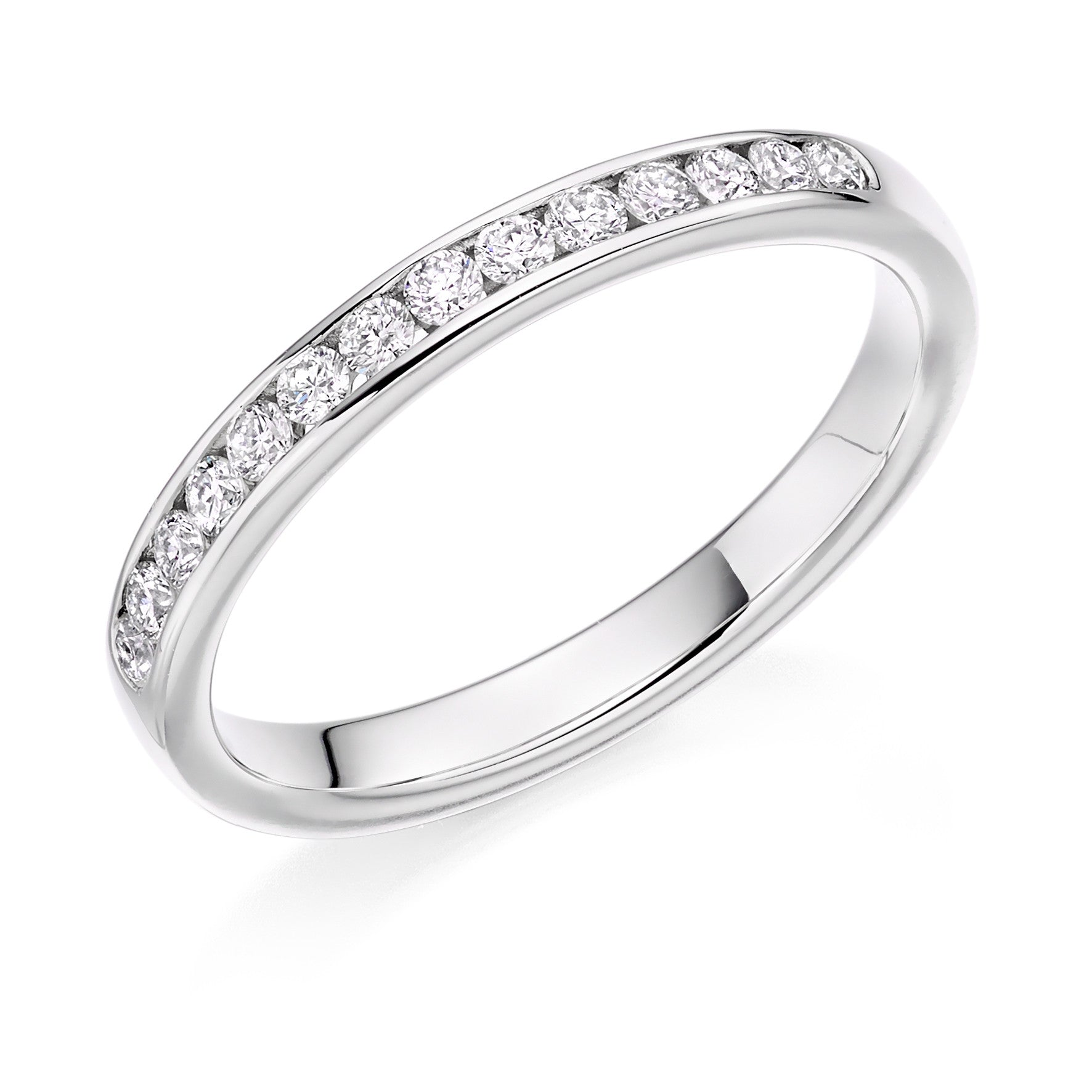 diamond engagement gold ring row double white bands top in band eternity