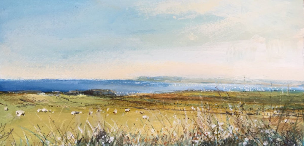 Sarah Carrington paintings of Northern Ireland scenery on the Causeway Coast: Sheep fields towards Rathlin