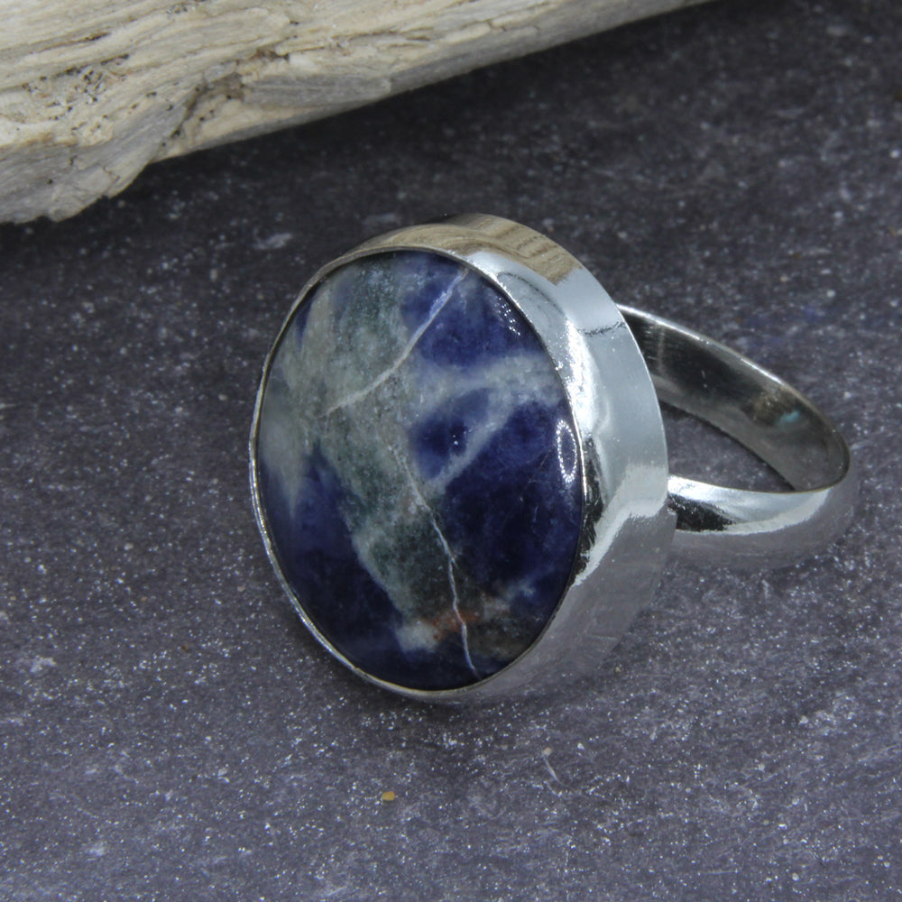 Sterling Silver Fob Ring by Robert Spotten with a blue stone