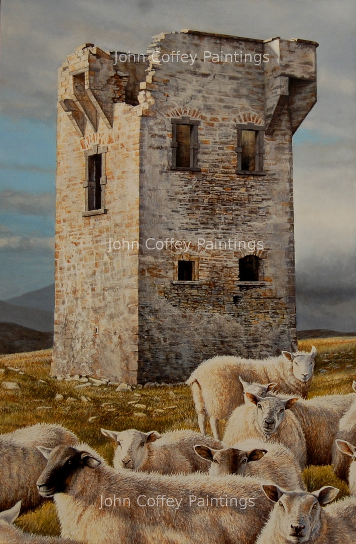 Beautiful portrait orientated acrylic painting of the Napoleon tower in Donegal watching over the sea to spy on the possible arrival of Napoleon fleet. We can see the tower and at its feet a flock of sheep looking at the viewer.