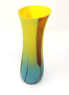 Keith Sheppard Fused glass artist, Tulip vase in bright beautiful colours