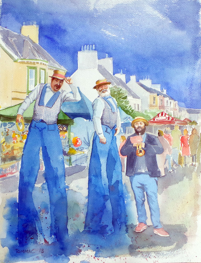 "Thomas McNeill - ""Lammas Fair Entertainers"" - Watercolour"