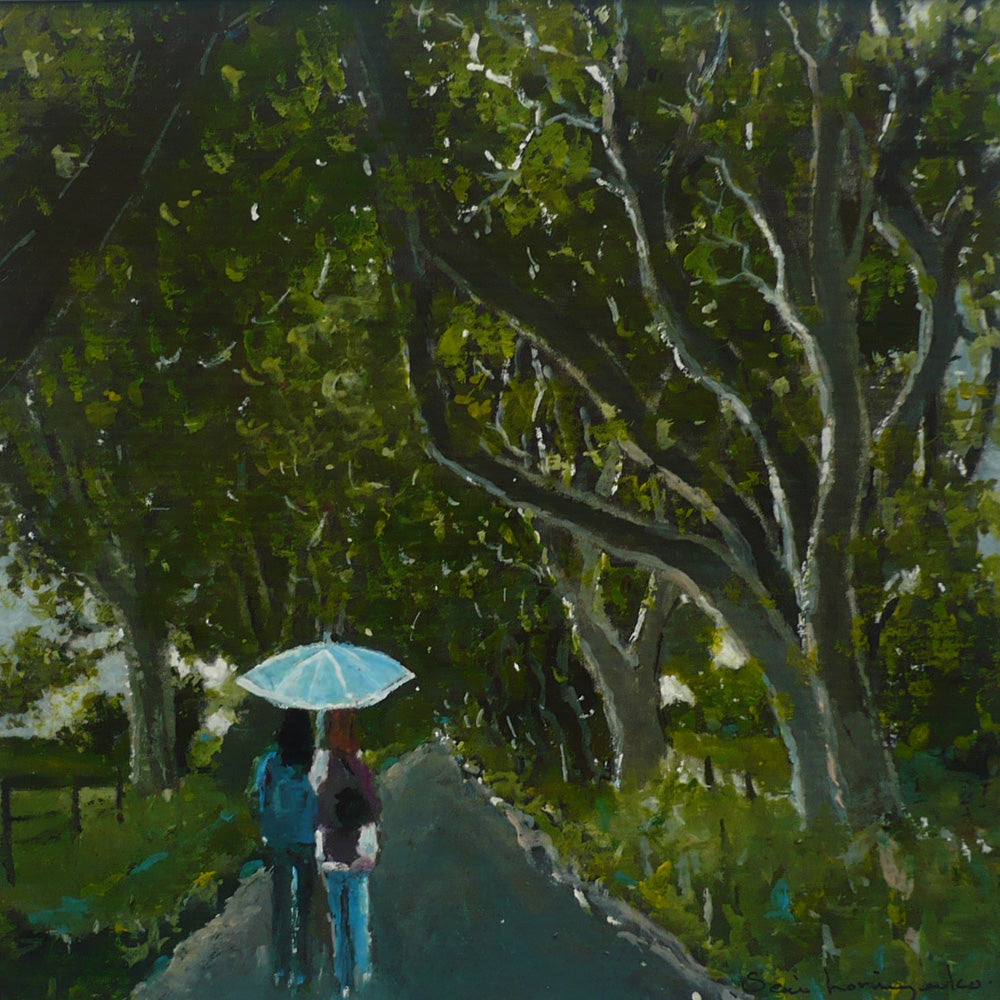 View of the dark hedges with a couple walking down the road in watercolour by Sean Lorinyenko. Colours include green, grey, brown, blue and turquoise.