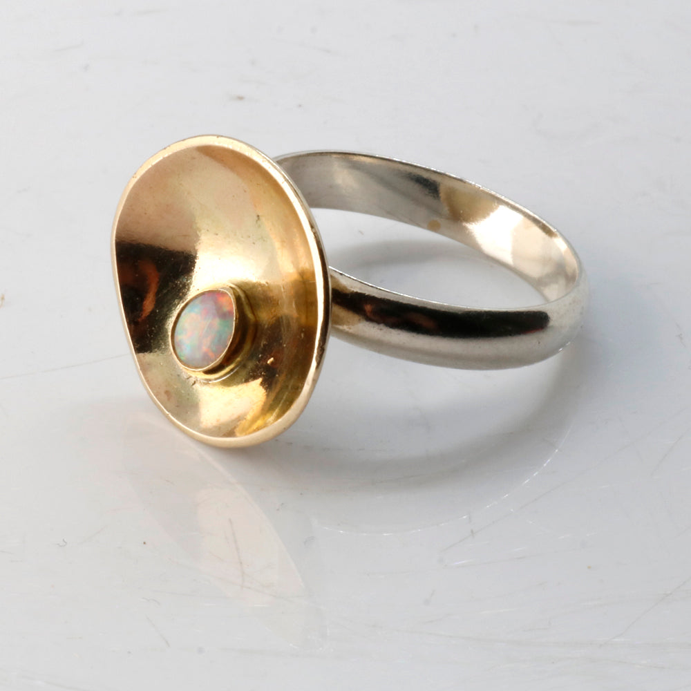 Dew on Buttercup ring - Unique Gold and Sterling Silver Ring by Robert Spotten