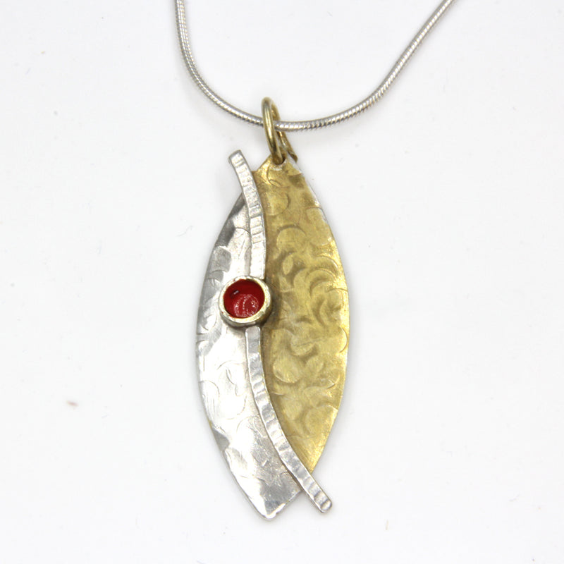 Marquis Shaped Sterling Silver Pendant with Gold Plating and Red Enamel by Robert Spotten