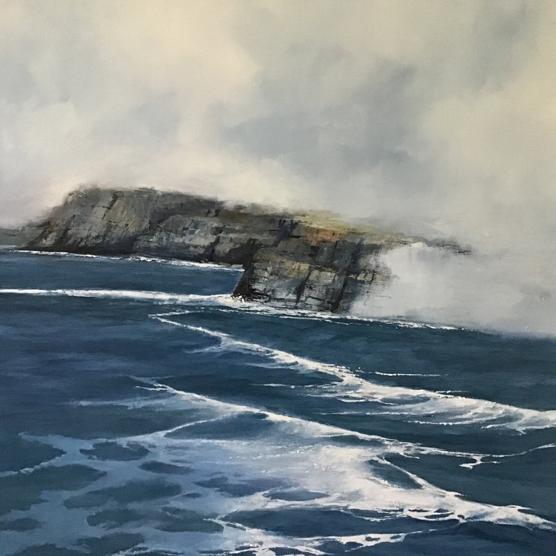 Misty Cliff Walk - Large Square Irish Seascape oil painting by James McNulty