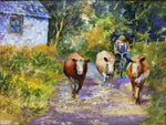 traditional Irish Art by Noel Shaw, depicting life on the farm in the gone by days in Ireland
