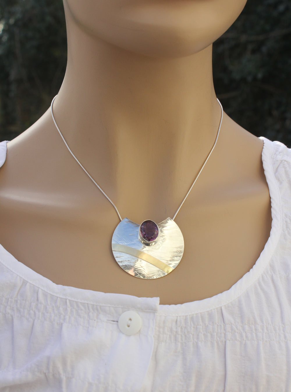 Oval Faceted Amethyst Sterling Silver Pendant with Gold  by Robert Spotten