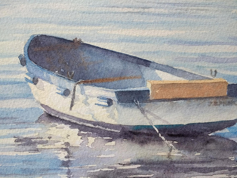 Blue Ripples (Portrush Harbour) - Watercolour by Peter Shaw