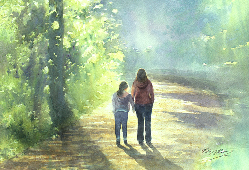 Me and Mum - Walk in Portglenone Forest- Watercolour by Peter Shaw
