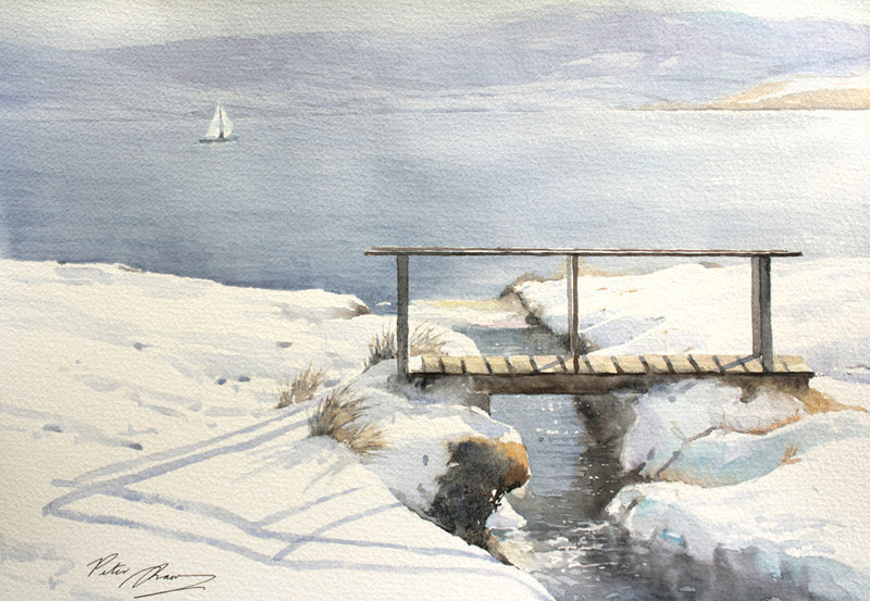 Open Water - Irish landscape - Watercolour by Peter Shaw