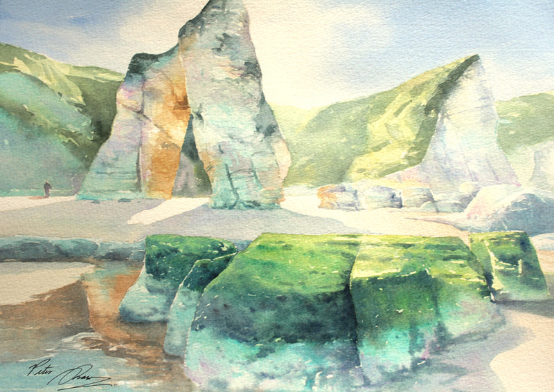 Spring Light, Ballintoy - Watercolour by Irish artist Peter Shaw