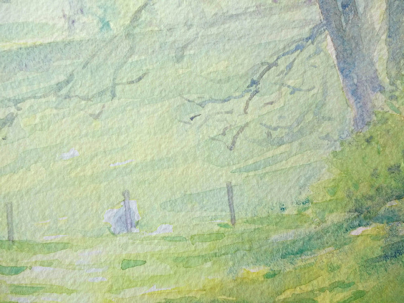 Spring Time in the Glens -an Irish Farm scene- Watercolour by Peter Shaw