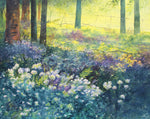 Yellow, green, purple, blue watercolour painting representing the forest floor during spring, wild garlic taking over blue bells, the sun shining and piercing through the leaves, a beautiful watercolour of an Irish forest by Peter Shaw, Irish artist currently showing at the Puffin Gallery, Ballycastle.