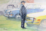 Enthusiast at a Vintage Car Rally - West Strand, Portrush- Watercolour by Peter Shaw