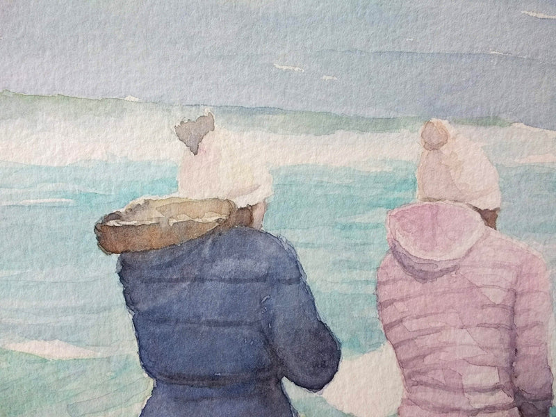 Hold on to your Hat - Watercolour by Peter Shaw