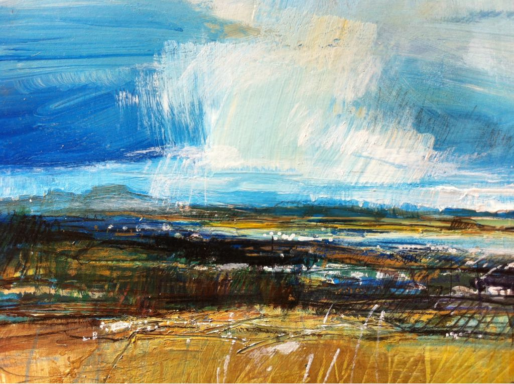 a mixed media painting by Sarah Carrington, a view of Muckish mountain in County Donegal