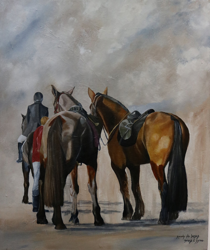 Horses getting ready for their next horse race with their helper, we can see the back of a dark brown and tawny horse heading away from the viewer. Another piece of equine art which is part of James C Byrne's exhibition:  Equine Essence