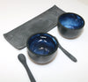 Black Blue Salt and Pepper Set by Irish Ceramicist Anne Butler