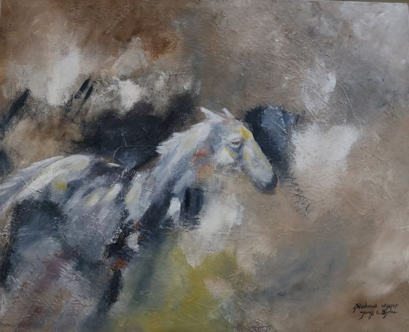 Shadow Whispers - Horse portrait painting by JC Byrne