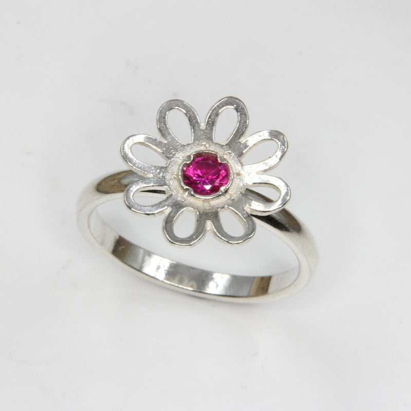 Daisy Sterling Silver Ring with Birthstone by Robert Spotten