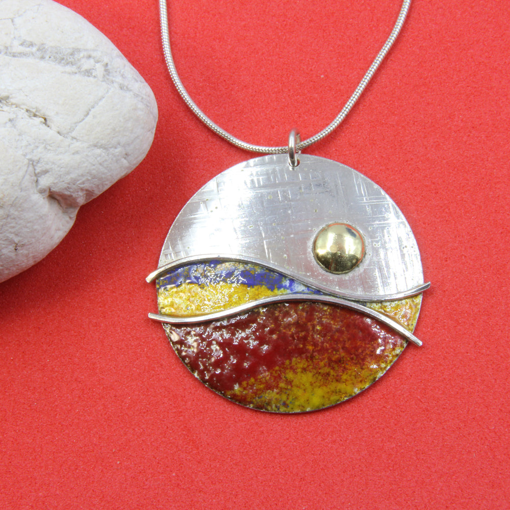 Sunset II - Yellow Red Blue Sterling Silver Designer Necklace by Robert Spotten