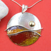 Sunset - Yellow Red Blue Sterling Silver Designer Necklace by Robert Spotten