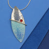 Turquoise, Red, Blue Enamelled Sterling Silver Pendant by Robert Spotten