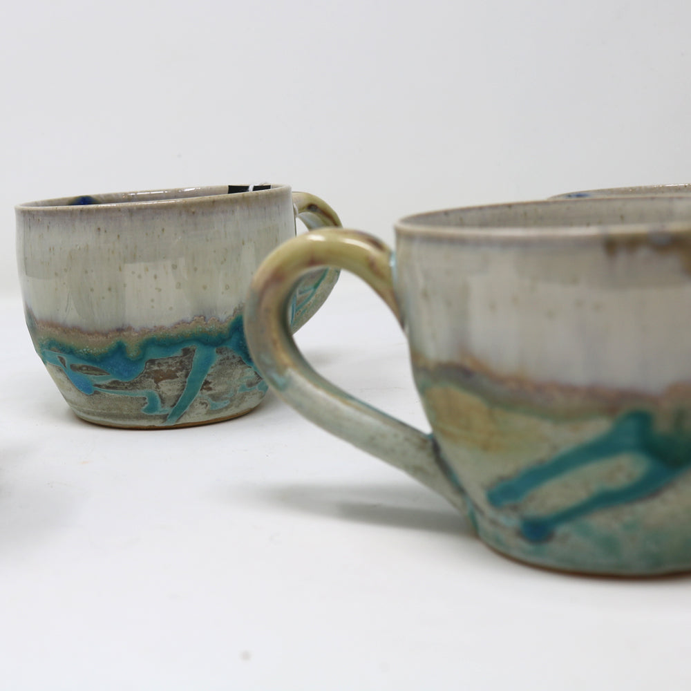 Turquoise and Cream Ceramic Expresso Coffee Cup by Alan McCluney