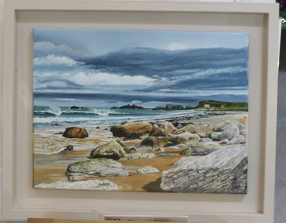 Windswept - Whitepark Bay looking over to Ballintoy, an Irish Landscape Oil Painting by Bertie Pennie