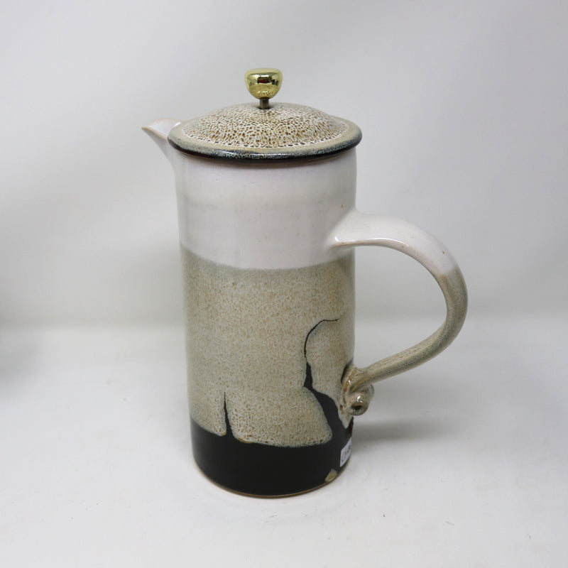 Cafetiere Beige Brown White  by Claire Murdock