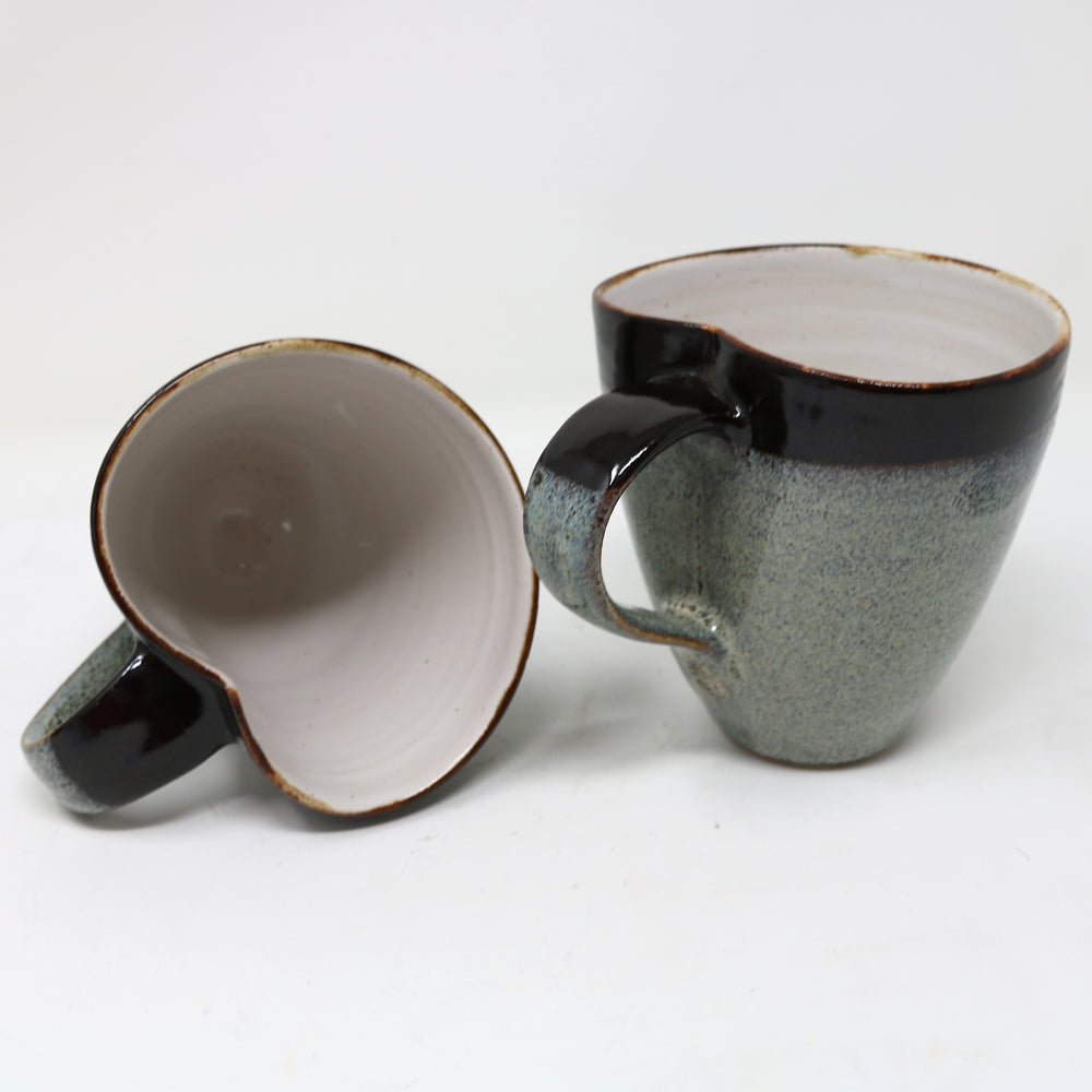 Brown and Light Grey Large Cup and saucer by Claire Murdock