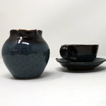 Dark blue expresso cup and saucer by Claire Murdock