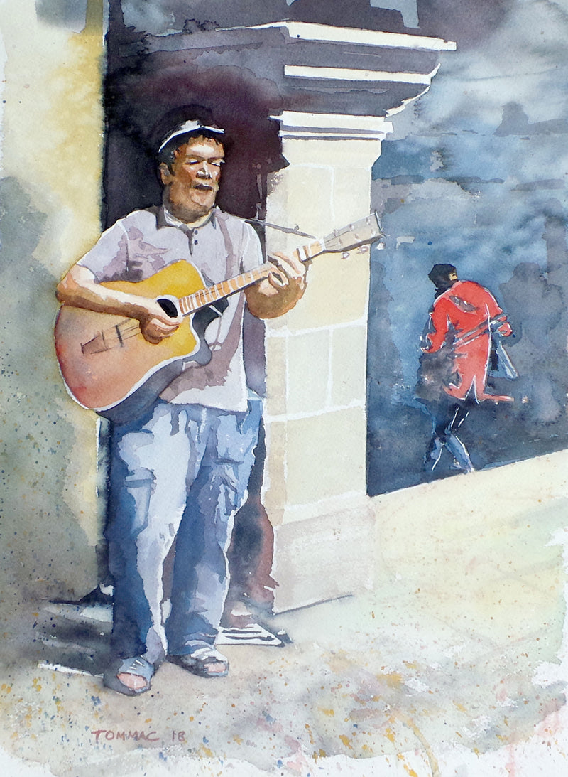 "Thomas McNeill - ""Derry Busker"" - Watercolour"