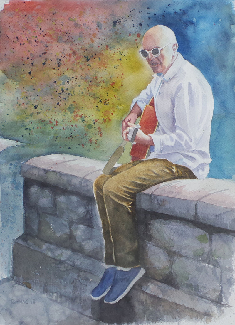"Thomas McNeill - ""City Wall Busker"" - Watercolour"